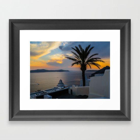 Fira,sunset,Greece Framed Art Print
