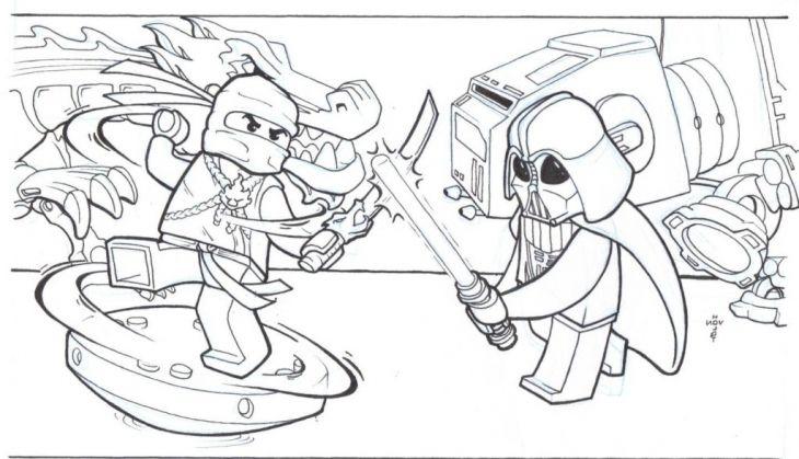 Lego Star Wars Darth Vader Vs Ninjago Coloring Page