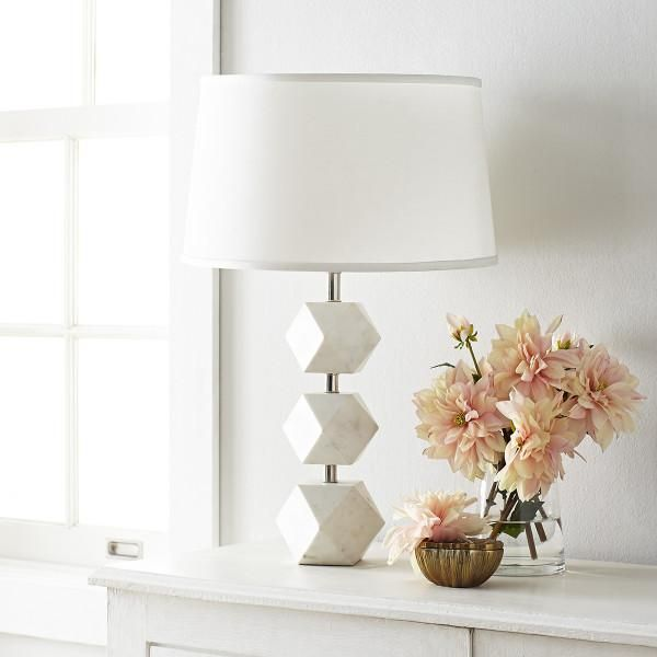 Stacked Geometric White Marble Lamp