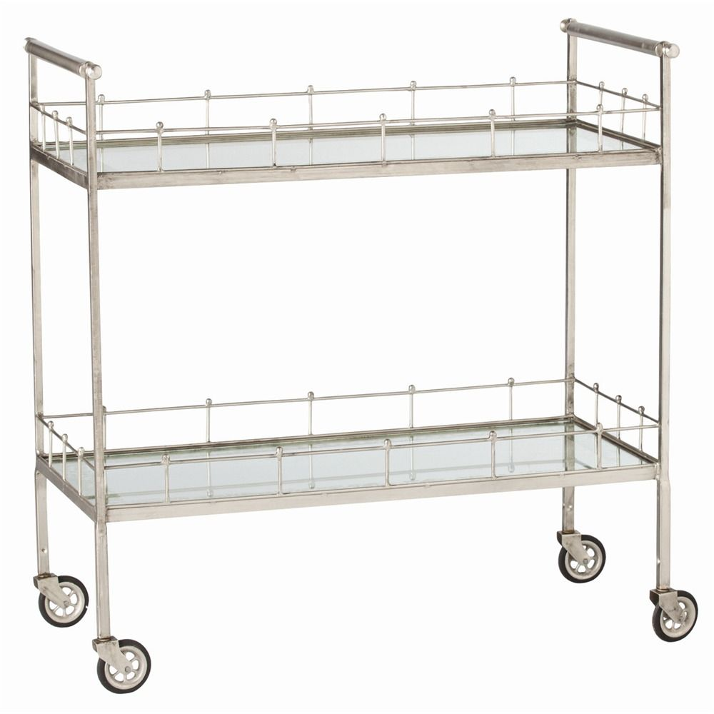 Lisbon Bar Cart Antique Silver The Southern Home Featuring French Country Shabby Chic Decor