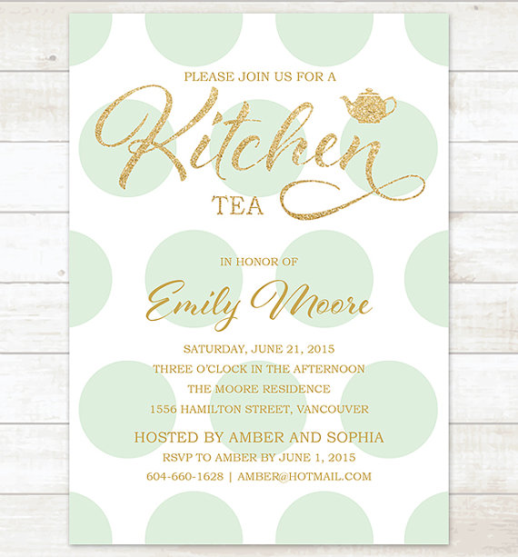 gold mint kitchen tea invitation mint polka dots gold glitter