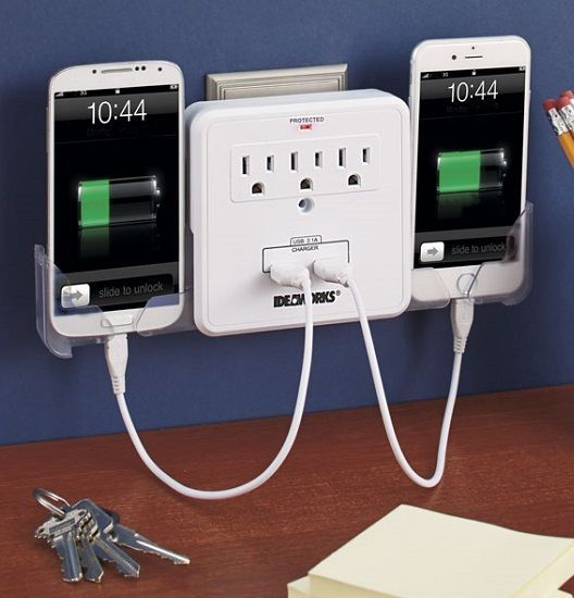 Cell Phone Charging Station Mobile Device Tablet Charger Outlet Multiplier Usb Ideaworks Phone Charging Station Cell Phone Charging Station Home Gadgets