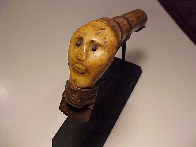 Lakota bone hide scraper with effigy face c