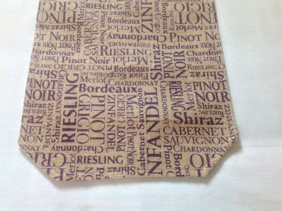Burlap Table Runner in a Purple Wine Print by LamchopDesigns