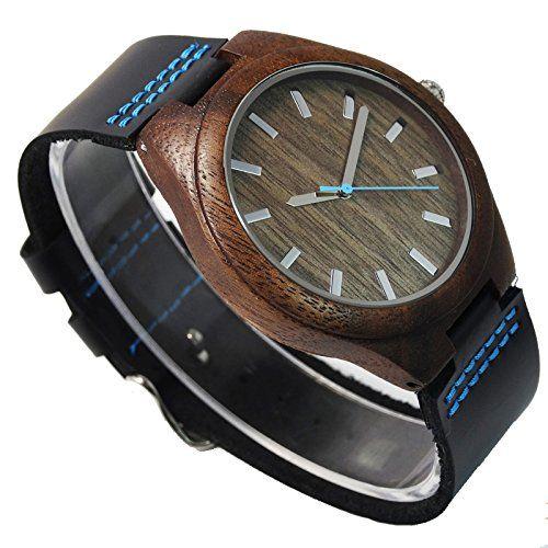 Topwell Hombres de relojes Madera de Nogal, color azul mano con regalo de correa de piel auténtica negro pulsera: Amazon.es: Relojes