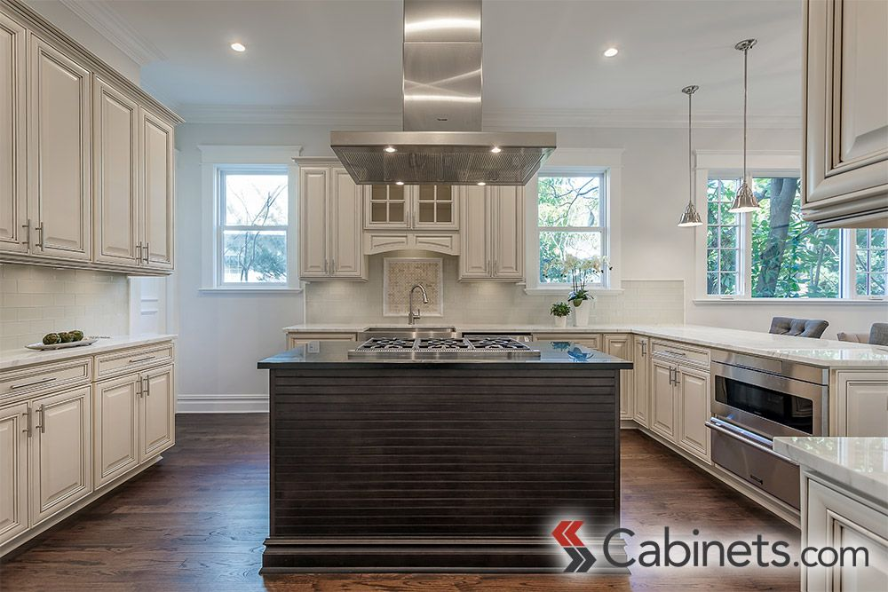 Large U Shaped Kitchen Design Featuring Traditional Style, Antique White  Cabinets And Modern