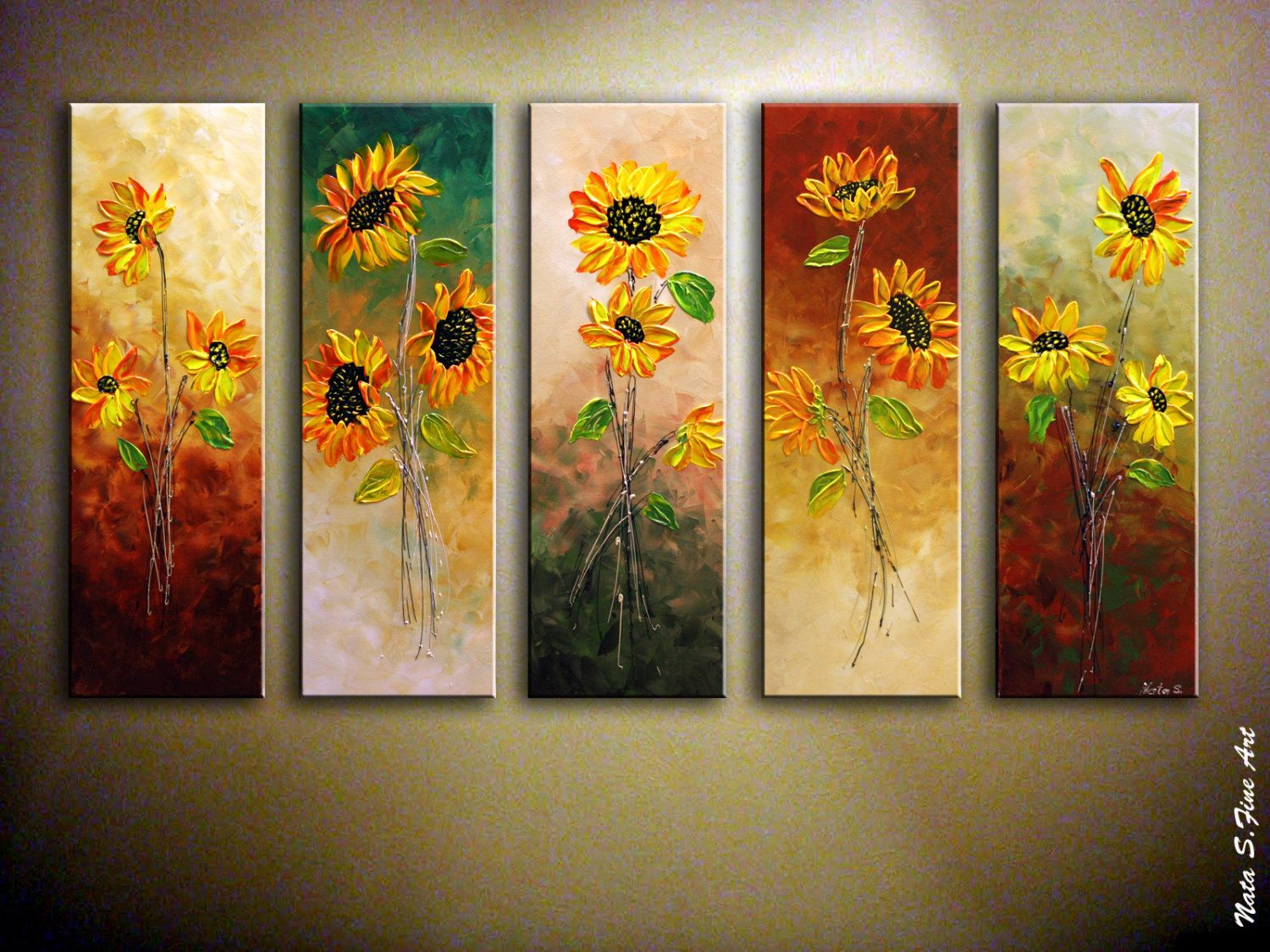 Oversized abstract sunflower painting palette knife for Art painting for home decoration