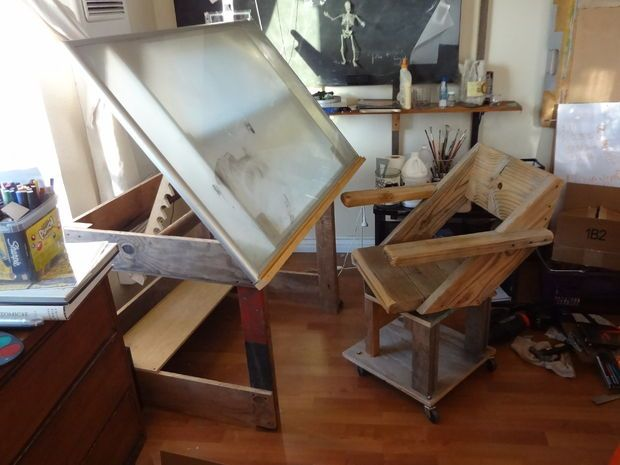A Drafting Table Made From An Ikea Coffee Table Ikea Coffee Table Drafting Table Art Desk Ikea