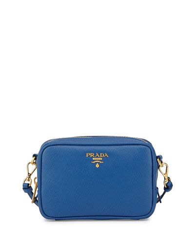 15ca4663d8a V2B84 Prada Saffiano Small Crossbody Bag, Cobalt Blue (Azzuro ...