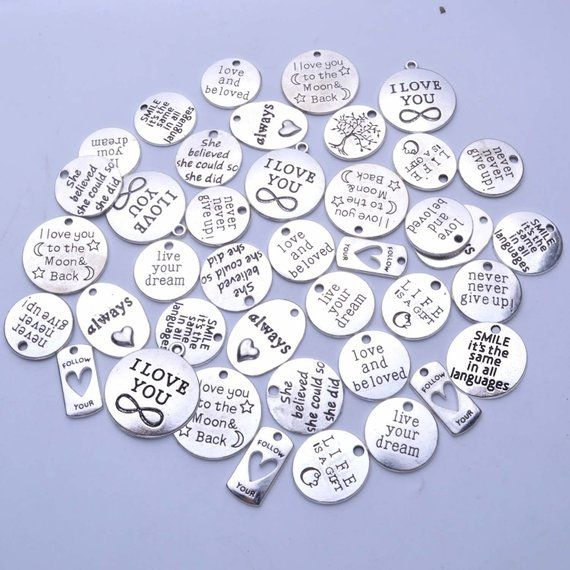4 Quote Charms Word Charms Antiqued Silver Word Charms I CAN Inspirational