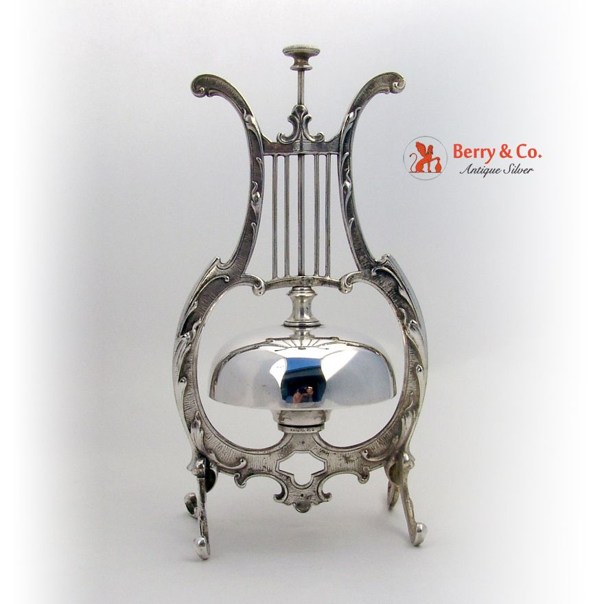 Call Bell Lyre Form Mechanical Silverplate 1890 from Berry & Company Antique Silver on Ruby Lane