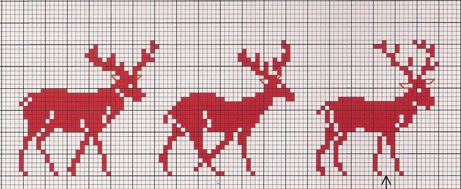 Cross Stitch Chart Christmas Deer / Kreuzstich Vorlage Rentier Elch ...