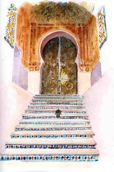 Escalier mosquée sidi Abu Median - Peinture,  30x40 cm ©2008 par Catherine Rossi -
