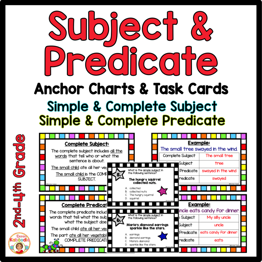 Subject And Predicate Anchor Charts And