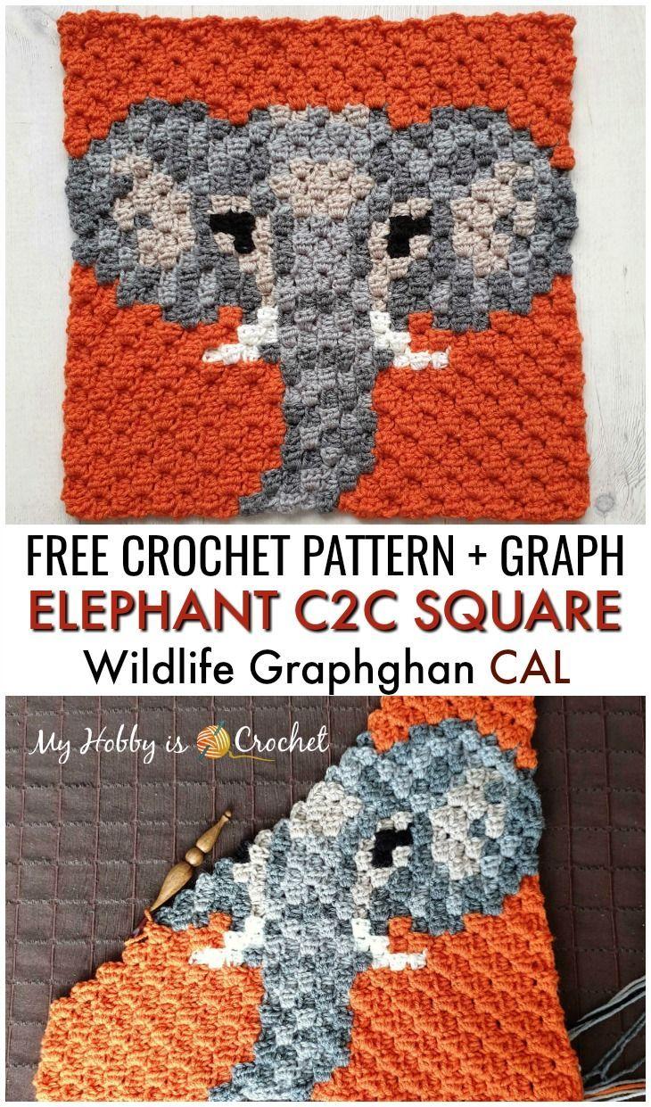 Free Crochet Pattern + Graph: Elephant C2C Square - Wildlife Graphghan Block 10 #crochetanimals