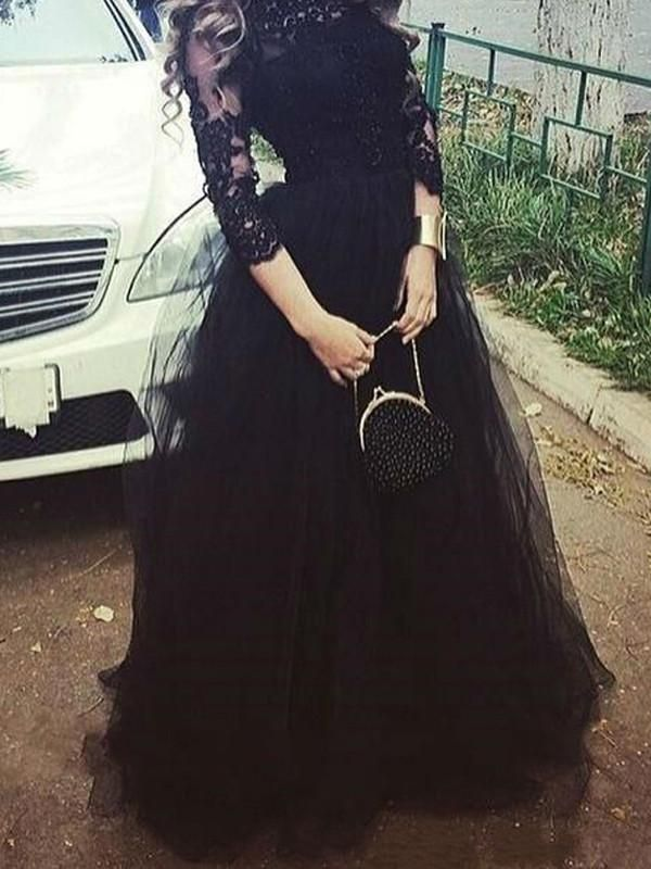 aacc88ed7ec1 Black prom dresses, A-line Bateau Floor-length Tulle Prom Dress Evening  Dress MK037