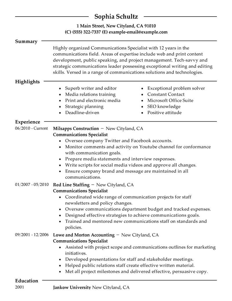 Best Communications Specialist Resume Example Job resume