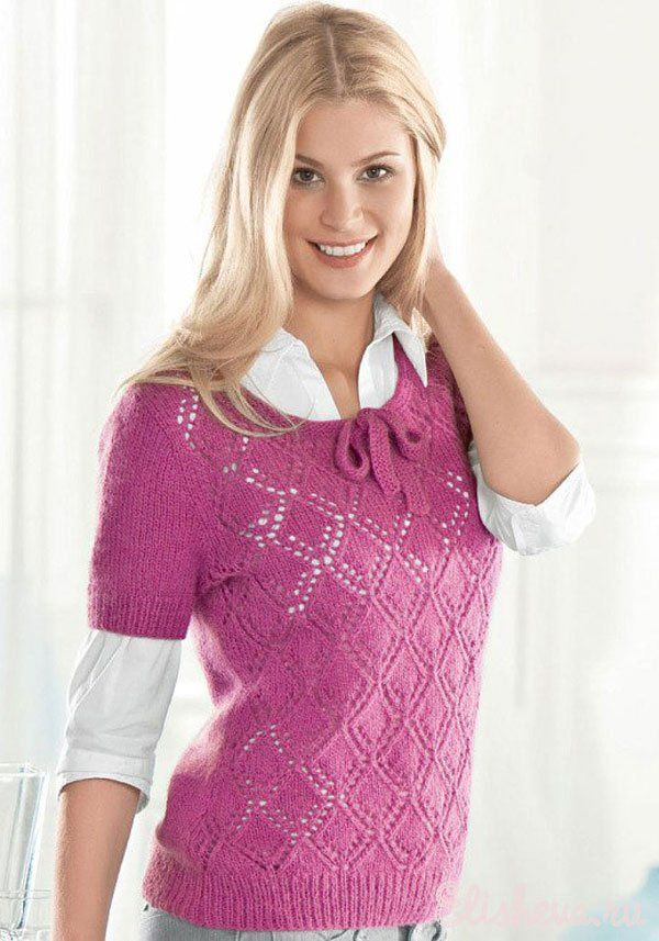 Вязание на спицах пуловера с короткими рукавами