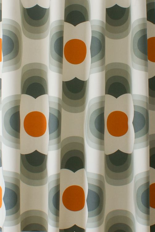 Striped Petal Orange Curtain Fabric Orla Kiely