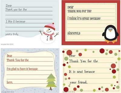 Susan Fitch Design Christmas Thank You Notes For Kids Christmas Thank You Christmas Writing Holiday Crafts For Kids