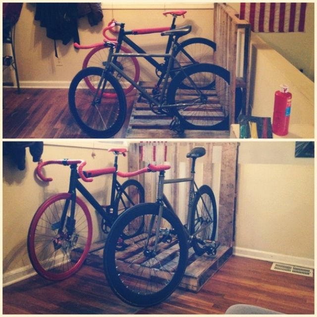 how to make a bike rack out of pallets