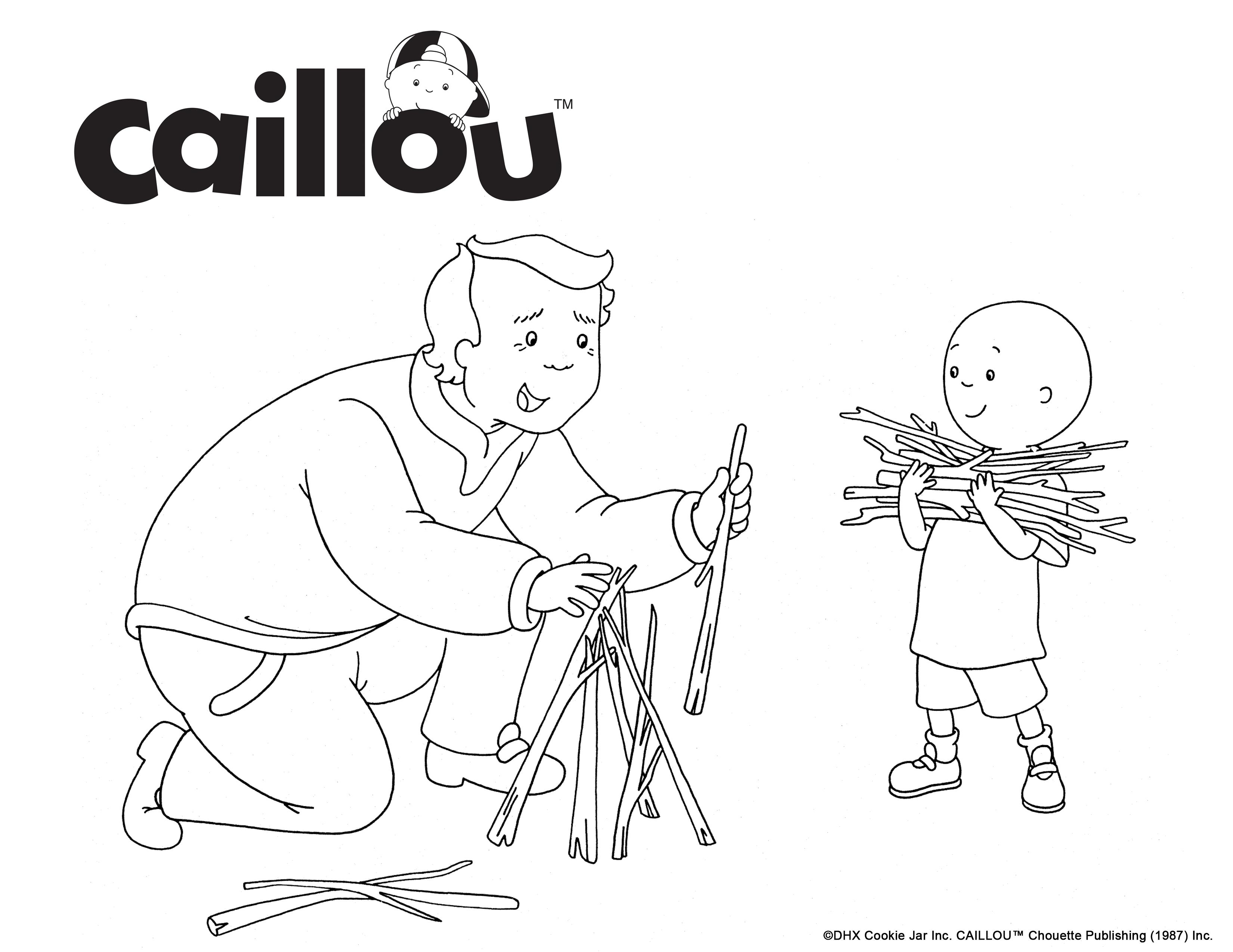 Print & Color - Caillou & Grandpa Camping Fun Coloring Sheet ...