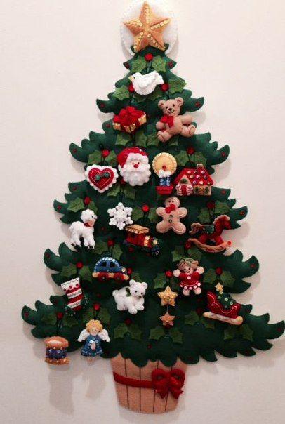 Arboles para decorar la pared en fieltro con sus moldes - Adornos navidenos para arbol de navidad ...