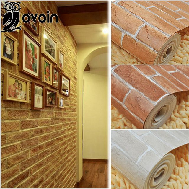 Thick Heavy Vinyl Wall Paper Rustic Pattern Faux Textured Brick ...
