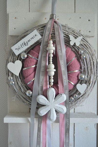 Photo of Door wreaths – door wreath / wall wreath 40cm country house rose / gray / white – a designer …