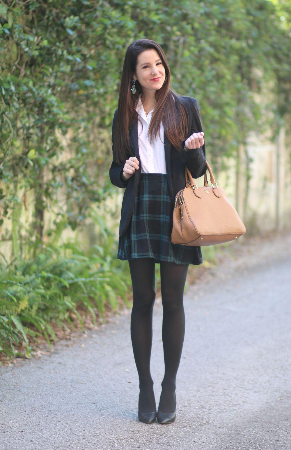 Black Plaid Skirt, Black Blazer, Prep School Look -3837