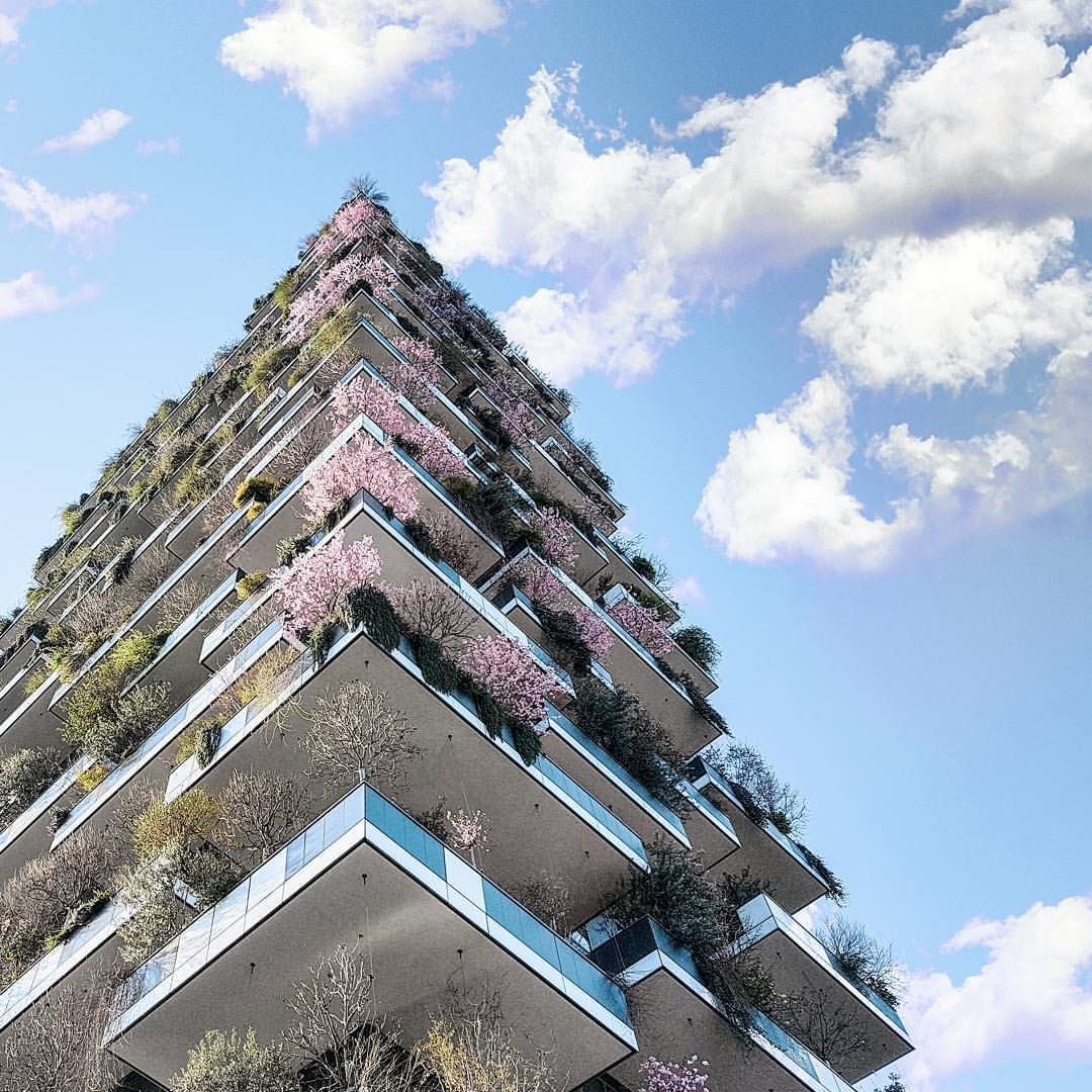 "Gefällt 1,233 Mal, 13 Kommentare - Andrea Pedretti (@aupl) auf Instagram: ""🌸 blossoming skyscrapers  #milan #italy #architecture #minimal #facade #urban #metropolis #sky…"""