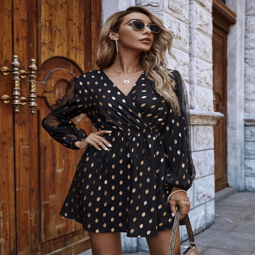 Long Sleeve Chiffon Dress Polka Dot Mini Dresses In 2021 Long Sleeve Chiffon Dress Elegant Mini Dress Mini Dress [ 1024 x 1024 Pixel ]