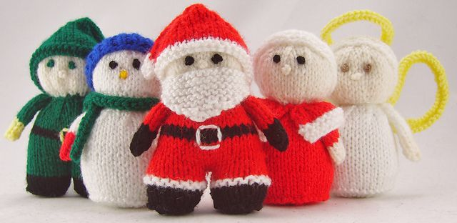 Photo of Mini Christmas Characters. Santa, Snowman, Elf pattern by Knitting by Post