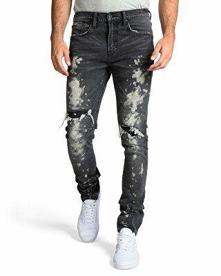 64dd061f PRPS Designer Men's Windsor Fit Bleached Denim Jeans with Rib/Repair ...