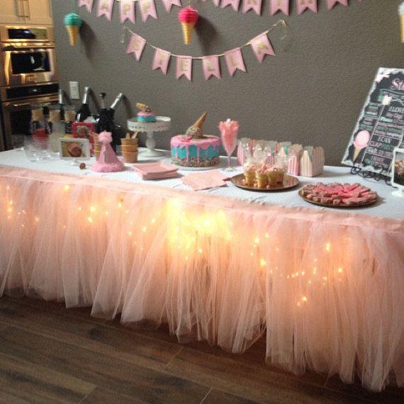 Birthday Table Top Decorations: Tutu Table Skirt, Custom Made, Wedding, Birthday, Baby