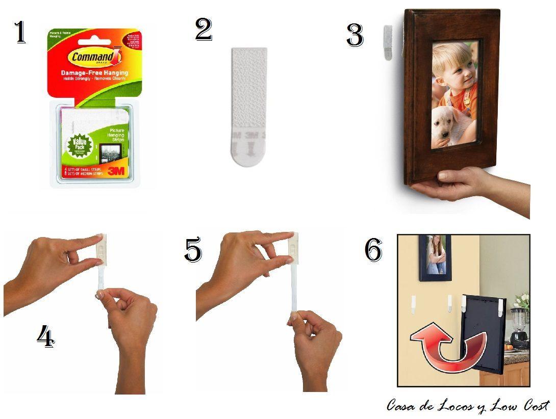 Colgar cuadros sin agujerear2 cuadros objetos colgantes for Como poner un espejo en la pared