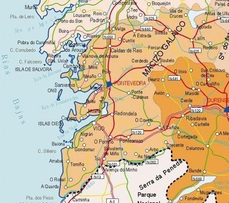 Mapa De Rias Bajas.Rias Baixas Pontevedra Espana Mapas