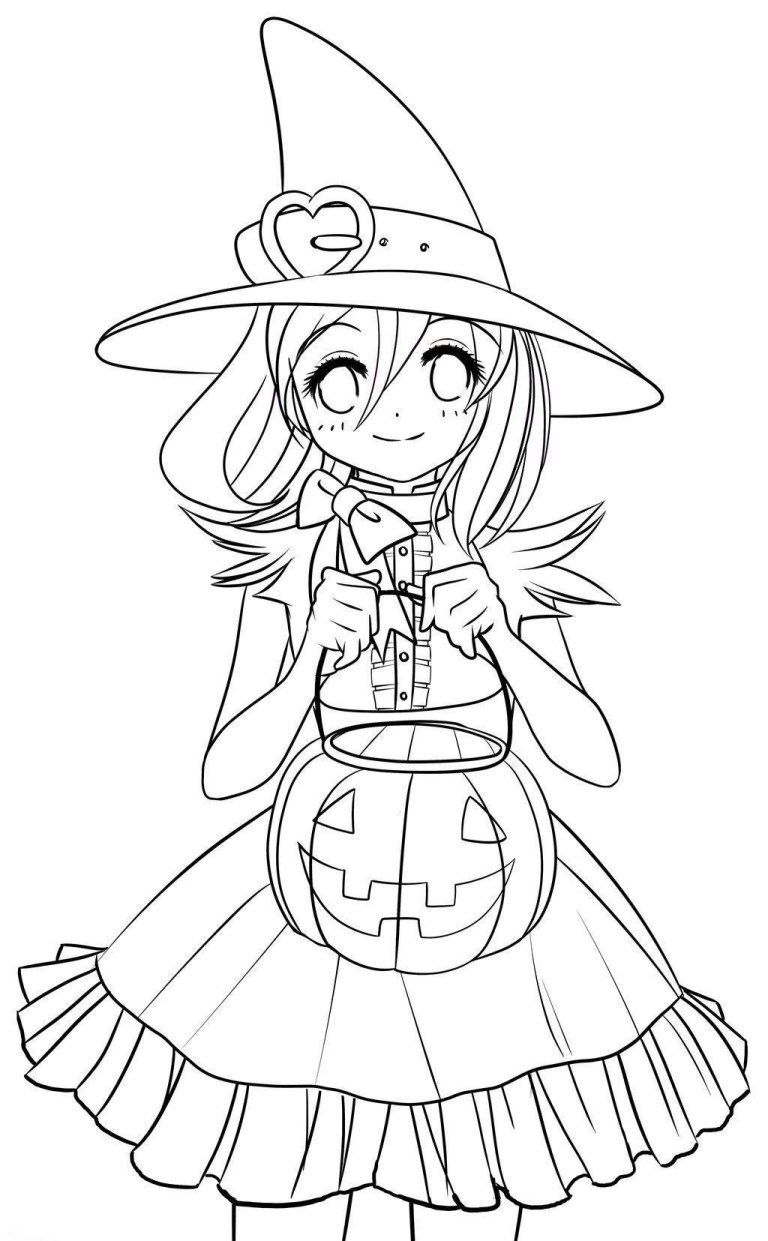 Cute Halloween Coloring Pages Halloweencoloringpages Cute Anime Hallowee Witch Coloring Pages Cute Halloween Coloring Pages Halloween Coloring Pages Printable
