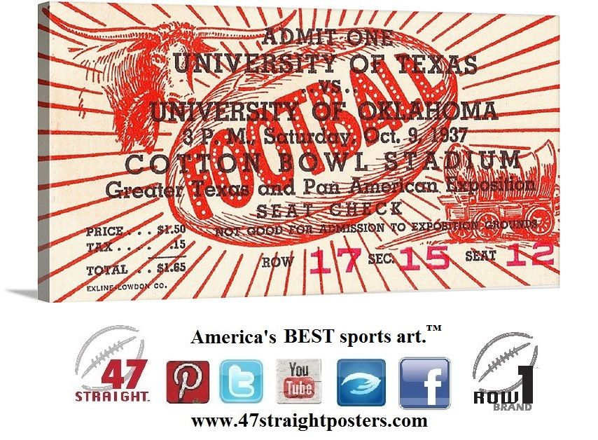 1937 Oklahoma Ou Sooners Vs Texas Longhorns Collegefootball Ticket Art On Canvas 47straight Sports Art Football Art Sports Gifts