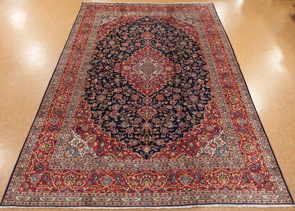 Persian Kashann Hand Knotted Wool Navy Blue Red Oriental Rug Carpet 11 X 17 Persiankashannfloralmedallionn