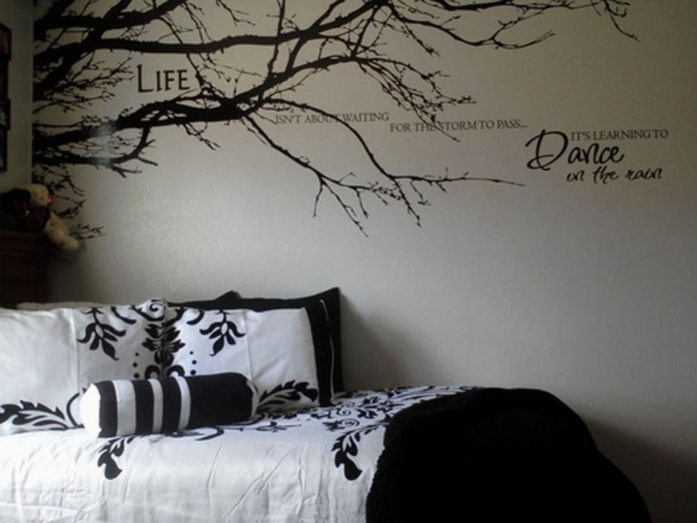 1pcs To Left Side Black Tree Top Branches Wall Stickers Diy