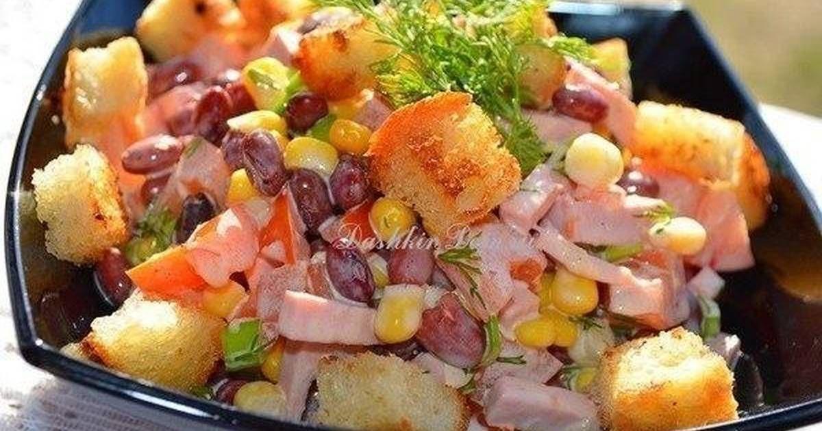 Салат с фасолью и сухариками | Рецепт | Кулинария, Еда и ...