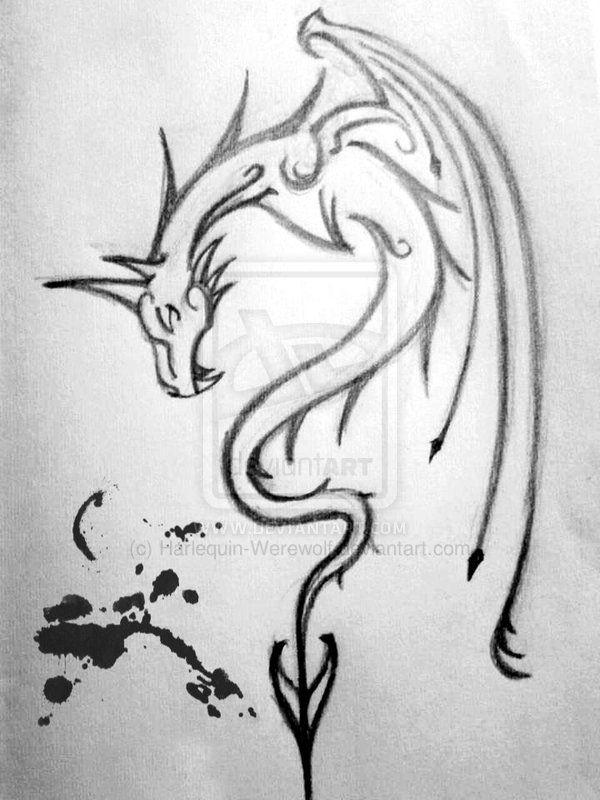 Dragon Tattoo Sketch By Harlequin Werewolf Dragon Tattoo Sketch