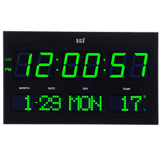 Amazon Com Hito 14 2 Large Oversized Led Wall Clock Seconds Date Day Indoor Temperature Adjustable Brightness Memory Funct Led Wall Clock Clock Hanging Clock