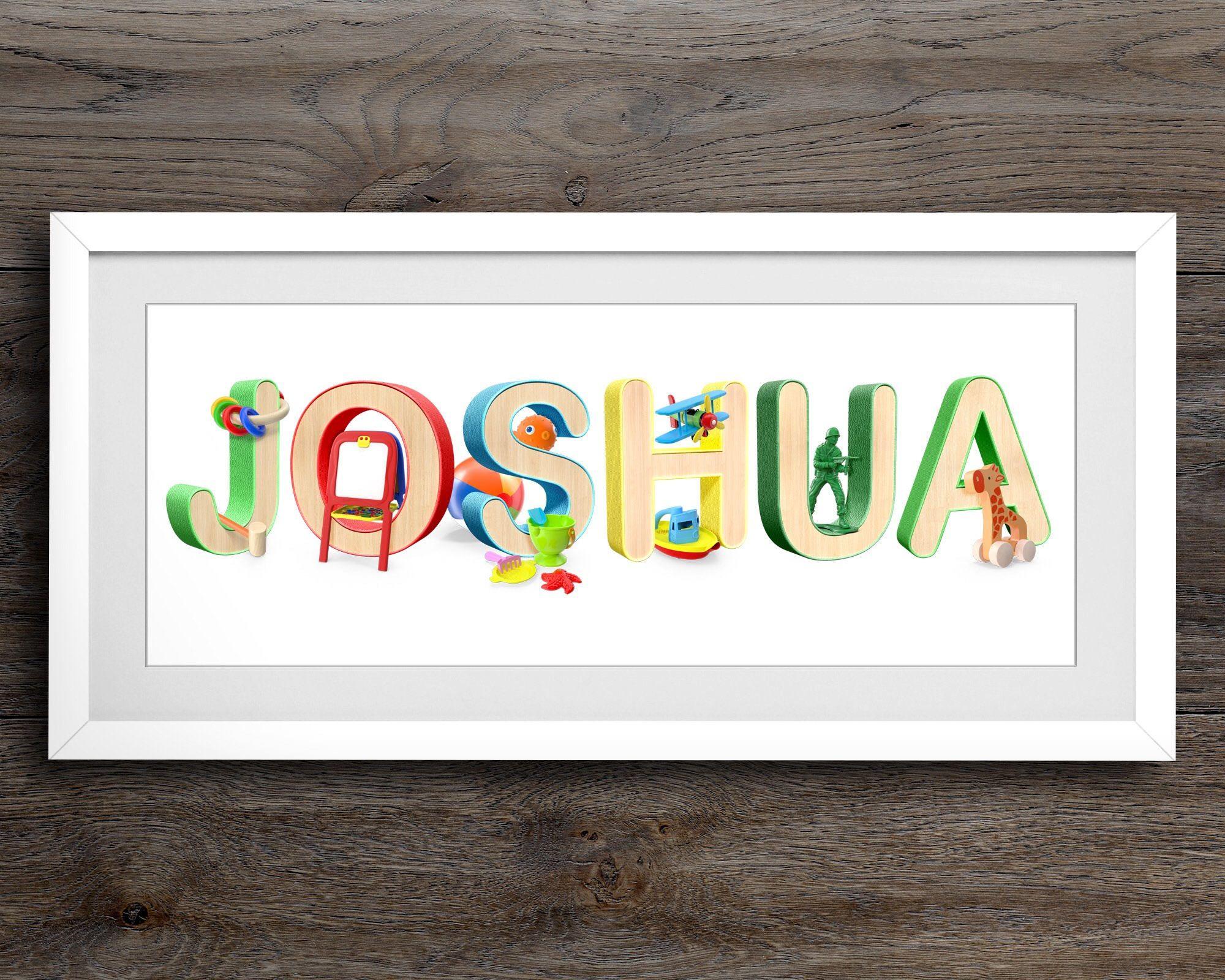 Toy Nursery Art Baby Name Decor Personalised Print