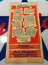 vintage JACK DEMPSEY MENU from New York Restaurant - w\ matchbook and postcard
