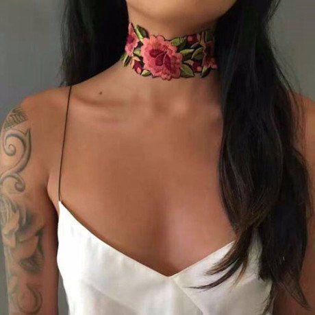 NECKLACE CHOKER ROSE FLOWER