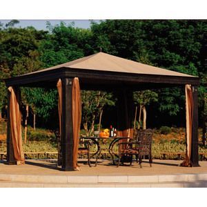 Sunjoy L Gz105pst 4f Lansing Gazebo 10 X 10 With Corner Shelves Gazebo Patio Furniture Sets Garden Gazebo
