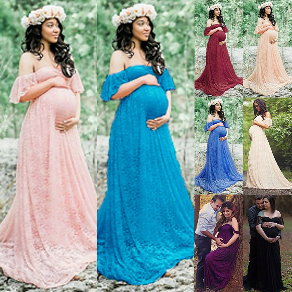 Pregnant Women Lace Long Maxi Dress Maternity Gown Photography Props Clothes US
