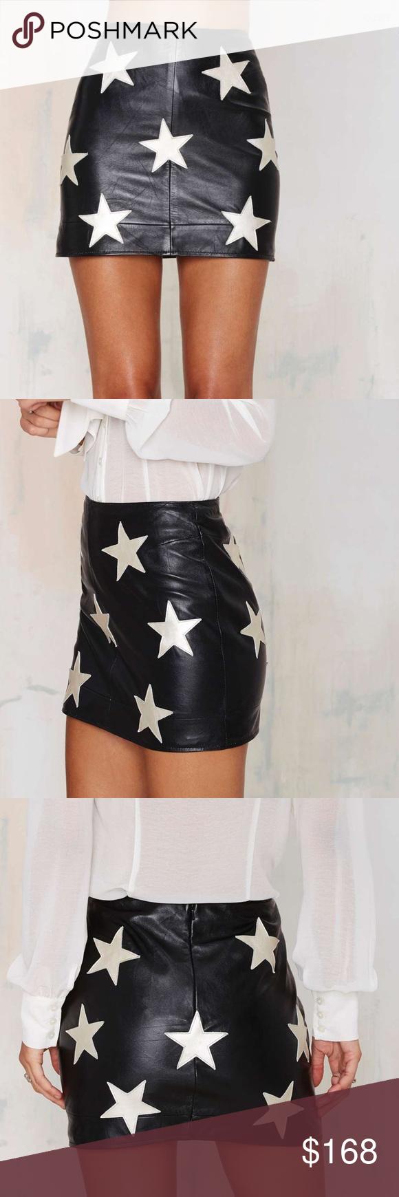 Vintage Silver Star Leather Skirt
